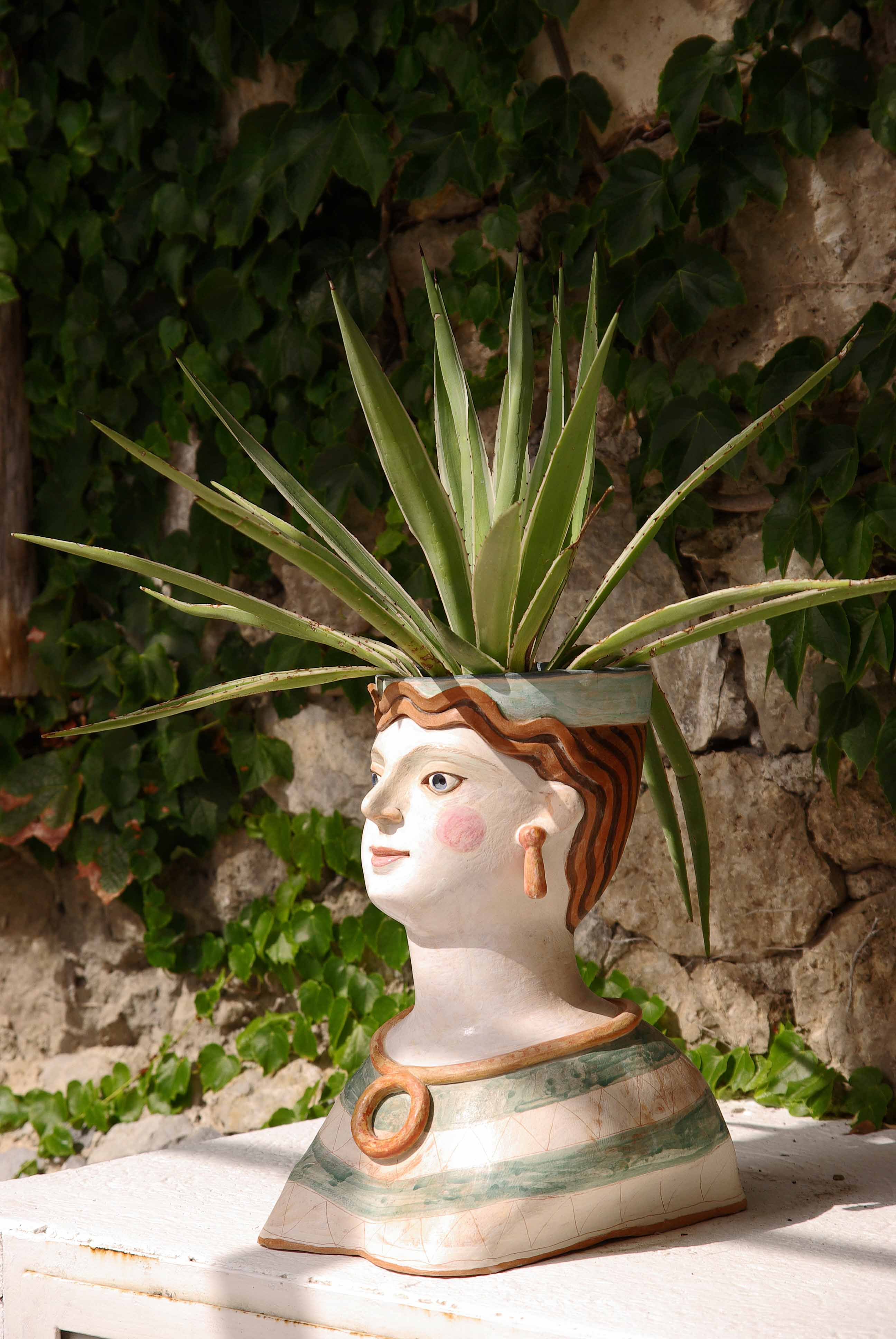 outside head with flower