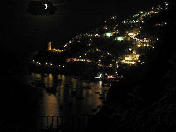 View to Praiano at night