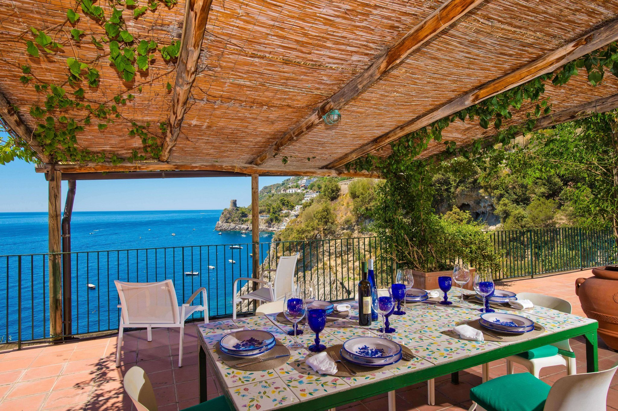 villa outside main terrace dining with view