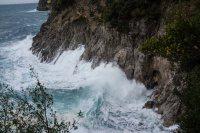 High waves in the bay below Villa la Madonnina