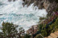 High waves in the bay below Villa