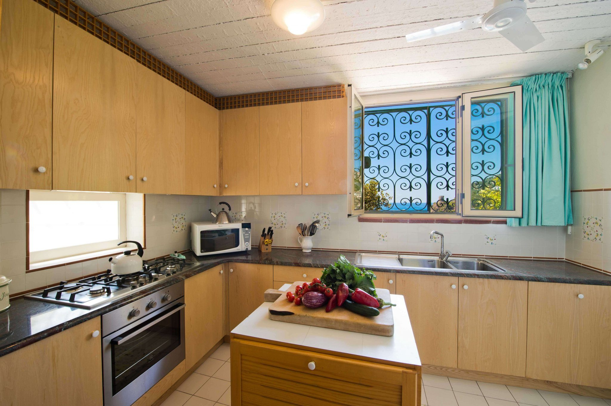 inside: kitchen with sea view