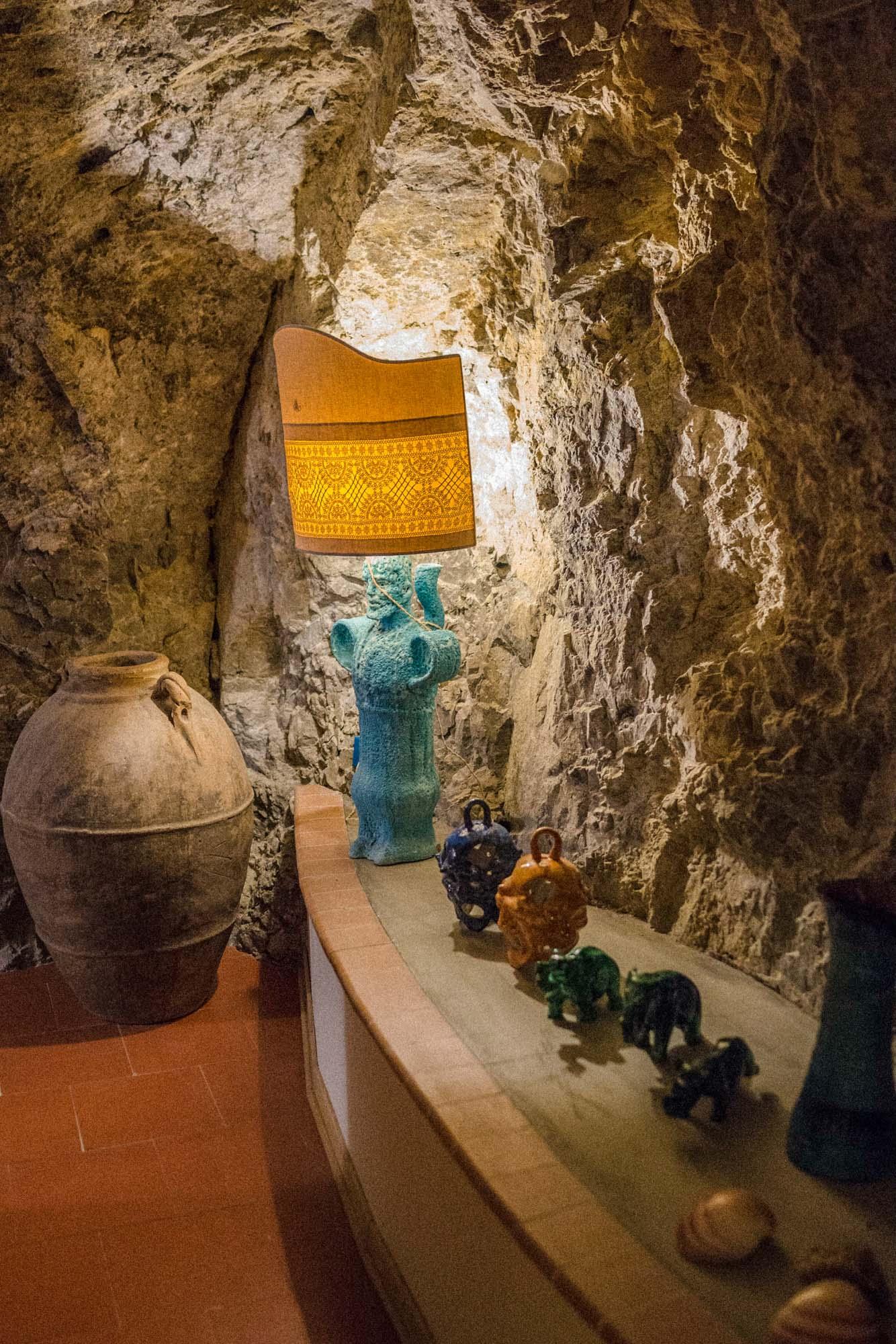 inside: vase in rock corridor